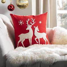 Safavieh Mitzi Christmas Reindeer 18 inch x 18 inch Decorative Holiday Pillow, Red Christmas Sewing, Diy Christmas Ornaments, Christmas Crafts, Christmas Decorations, Reindeer Decorations, Christmas Store, Christmas Deals, Red Christmas, Christmas Cushions