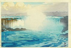 """Hiroshi Yoshida (1876-1950), titled """"Naiyagara bakufu"""" (Niagara Falls), dated Taisho 14 (1925), from the United States Series, impressed signature LR (traces of tape residue to top reverse corners, otherwise very good condition), 10 3/4 inches high by 15 3/4 inches wide, $250."""