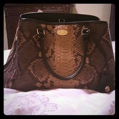 Brand New Coach Margo Snakeskin Bag Beautiful Brown based Snakeskin Coach Handbag with four base prongs on bottom to keep button of purse clean. Strap may be worn long, crossbody, or double to wear as a shorter shoulder bag. This bag also features two double straps to wear bag on your forearm and has a key holder located on the front of handbag. May be worn causally or dressy! Coach Bags