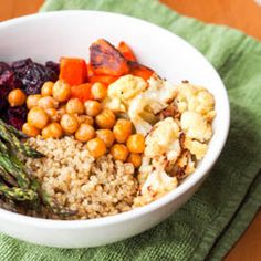 Vegan Quinoa Power Bowls with Roasted Veggies and Avocado Sauce {Gluten-Free}