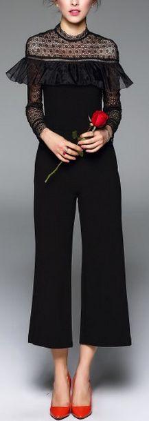 Black Lace Floral Organza Ruffle Sheer Mesh Long Sleeve Wide Leg Jumpsuit