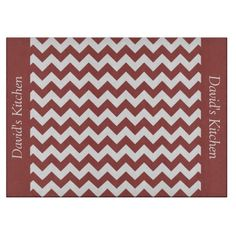 Antique Red Chevron Decorative Glass Cutting Board ...............This design features a Antique Red Chevron pattern. The TEXT on both sides (left and right) can be customized with your own name. Check out my store for more colors.