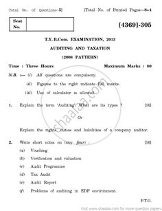 Auditing and Taxation 2008 Pattern - 2013 April - Commerce  TYBCom - University Exam - University of Pune -   Page 1