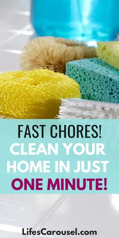 Learn how you can keep your home clean with these Minute Chores. Fast cleaning tips to help keep your home clean and tidy without spending hours. Speed Cleaning, Household Cleaning Tips, Deep Cleaning Tips, House Cleaning Tips, Car Cleaning, Spring Cleaning, Cleaning Hacks, Cleaning Schedules, Cleaning Lists