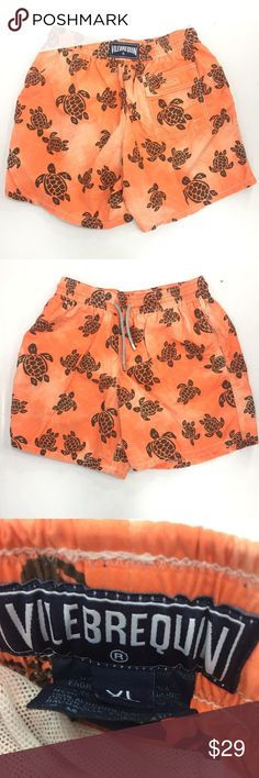 """VILEBREQUIN Orange Swim Trunks Turtles Print XL VILEBREQUIN Men's Orange Swim Trunks Turtles Print XL   Dryer holes on the inside mesh and a yellow spot; see photos for details  Waist ~ 14.5"""" (flat across unstretched) Inseam ~ 5.5"""" (on the inside of the leg) Total Length ~ 17.5"""" Fits like an American L   The item will be shipped either the same or next day  Send me a message with any questions Vilebrequin Swim Swim Trunks"""