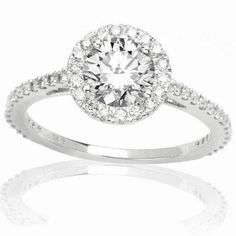 CERTIFIED | 1 Carat Round Cut/Shape Classic Yet Unique Halo Style Pave Set Diamond Engagement Ring 14K White Gold with a 0.57 Carat (I-J Color, I2 Clarity center stones Center Stones) (Platinum, Yellow, White, Rose)