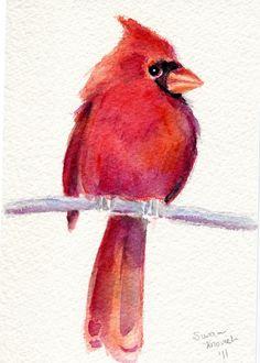 Red Cardinal Original watercolor. $25.00, via Etsy.