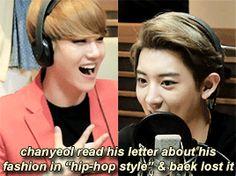 Baek can't control himself while Chan speaks XD