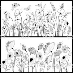 Set of floral banners in white and black Ein Satz von floral Banner in Weiß und Schwarz Lizenzfreies vektor illustration The post Set of floral banners in white and black appeared first on Ideas Flowers. Doodle Drawings, Doodle Art, Pencil Drawings, Zentangle Patterns, Embroidery Patterns, Bordado Floral, Drawn Art, Floral Banners, Floral Drawing