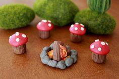 Campfire Set -  Terrarium Accessory - Fairy Garden - Miniature Garden - Accent by GnomeWoods on Etsy https://www.etsy.com/listing/219733967/campfire-set-terrarium-accessory-fairy
