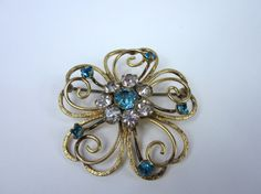 Vintage Gold Filled Brooch/ Blue and Clear Rhinestone Pin Coat Hat on Etsy, $49.00