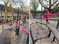 This new children's playground that's like a winding rollercoaster is tucked away in the north-western corner of Oosterpark in Amsterdam. Given the name 'Play Garland Oosterpark', the playground was designed by landscape architecture firm carve. It rises up and dives downwards with twists and turns that the children can run along. It rises up and dives downwards with twists and turns th..