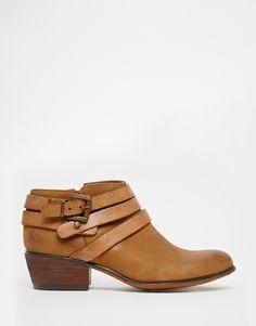 Steve Madden Regent Cognac Strap Western Ankle Boots