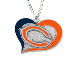 Chicago Bears Women's Swirl Heart Necklace