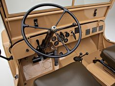 Front dash of the Willys-Overland Jeep CJ-2A. Note the early column shifter (only used from 1946-1947).