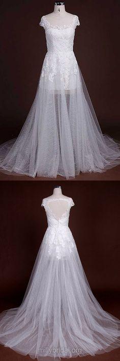 Lace Wedding Dresses Simple, Scoop Neck Cap Straps Wedding Dresses, Tulle with Appliques Lace White Court Train Wedding Dresses