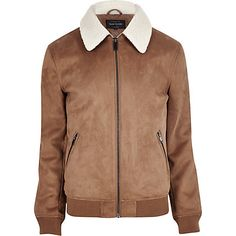 Tan faux suede borg collar jacket $140.00