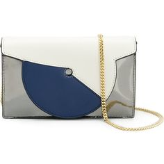 Dvf Diane Von Furstenberg Swirl Soirée bag ($298) ❤ liked on Polyvore featuring bags, handbags, metallic, diane von furstenberg handbags, real leather handbags, genuine leather bags, blue and white handbag and genuine leather purse