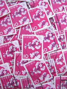 pink vintage (1961) Japanese cherry blossom postage stamps