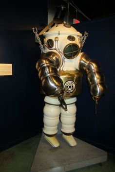 Heavy armor diving suits for deep underwater salvage operations, History of Diving Museum, Islamorada, the Florida Keys.