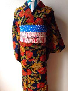 kimonoアンティーク★レトロフラワー大和撫子★ウール単着物★_画像2
