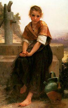 William Bouguereau Paintings | The Broken Pitcher Painting Painted originally by William Bouguereau