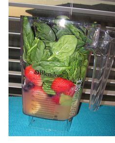 Strawberry Super Green Smoothie: 1 banana, 6 oz apple juice, 6 oz water, 2 c strawberries (frozen or fresh), as much spinach as will fit & acai powder | Let's Talk Fitness
