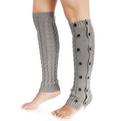 cff9053677b0e Zeogoo Women Knit Crochet Double Button Long Leg Warmers Knee High Boot  Socks
