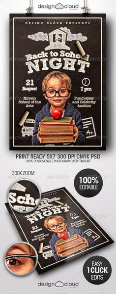 Back to School Night Flyer Template PSD | Buy and Download: http://graphicriver.net/item/back-to-school-night-flyer-template/8493689?WT.ac=category_thumb&WT.z_author=Design-Cloud&ref=ksioks
