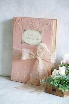Personalised Wedding Guest Book Case rustique 150 en bois COEURS Vintage Shabby Chic