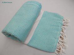 Turquoise green shade diamond patterned Turkish peshtemal super soft cotton bath towel, beach towel, spa towel, baby blanket, throw.