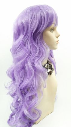 Long 25 inch Wavy Light Purple Color Wig with by ParamountWigs