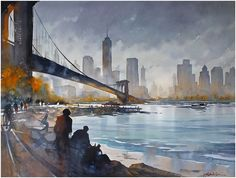 Thomas Schaller Biography Watercolor Acuarela Architecture of light DVD Watercolor DVD Acuarela Painting in Watercolor Aprender a pintar acuarela Watercolor City, Watercolor Artists, Watercolor Landscape, Watercolor Paintings, City Landscape, Fantasy Landscape, Urban Landscape, New York Painting, City Painting