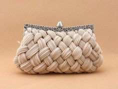 I love the look of this woven clutch. It would be perfect for a bride on her wedding day--especially for a classic romantic wedding. - Pleated and Braided Satin Rhinestone Studded Wedding Evening Bridal Clutch Purse - Bridesmaid Clutches, Diy Schmuck, Beautiful Bags, Clutch Purse, My Bags, Tote Bags, Evening Bags, Purses And Handbags, Cheap Handbags