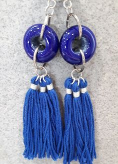 Blue glass bead and tassel earrings by bdenglass on Etsy