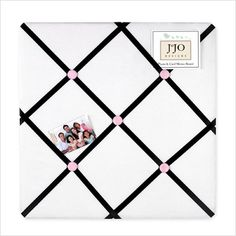 Love this white, black and pink memo board for a girls teen room