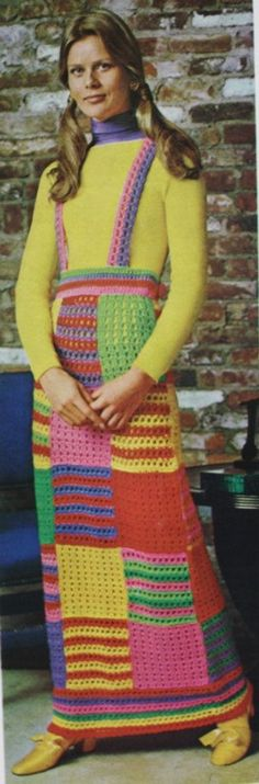 """Why?! Seriously?' WHY?! I know you LOVED great aunt Agnes but you didn't have to use every afghan she ever made & stitch them together to make a dress!"""