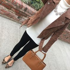 fall outfit black ponte leggings leopard flats suede moto jacket,  fall outfit, petite fashion blog - click the photo for outfit details!