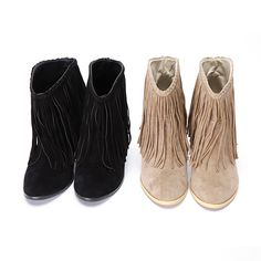 Fringe Suede Ankle Boots. Want want want the black pair!!