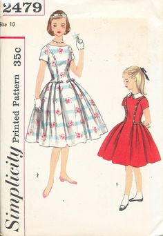 1958 Simplicity #Girls #Dress #Vintage #Sewing #Pattern (Age-10)