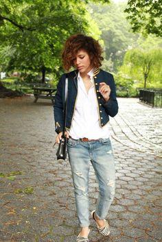 White shirt + blue military blazer + jeans