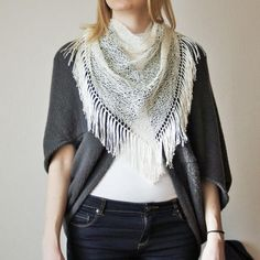 Ivory White Tassels Triangle Scarf / Hand Knitted by RUKAMIshop