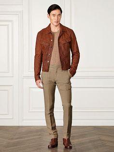Clifton Leather Trucker Jacket - Purple Label Leather & Suede - RalphLauren.com