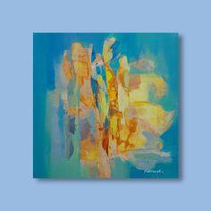 Peinture bleu vert Peinture jaune Peinture abstraite par Artoosh