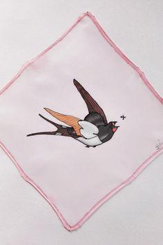 Silk handkerchief birds pocket square hand painted hank