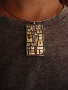 silver mosaic pendant di MOSAICANDARTS su Etsy