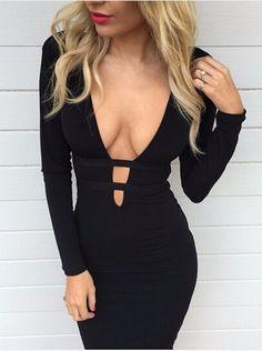 Womens Cocker Neck LBD Mini Bodycon Dress Long Sleeves Cut Out Deep V Casual Top