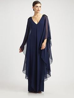 Notte by Marchesa Silk Caftan Gown Mother Of Groom Dresses, Mothers Dresses, Formal Dresses For Weddings, Elegant Dresses, Long Sleeve Evening Gowns, Evening Dresses, Mob Dresses, Fashion Dresses, Plus Size Cocktail Dresses