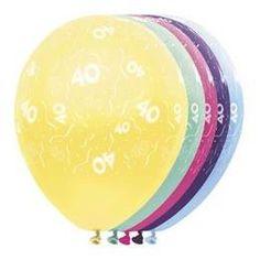 Ballonnen 40 jaar. Een zakje met 5 mooie metallic kleurige ballonnen bedrukt met slingers en cijfertjes 40. foto 1
