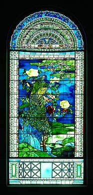 Peacocks and Peonies II by John La Farge, 1882, Smithsonian American Art Museum. The central image was influenced by Japanese screens, while the lower section is from a Pompeiian wall painting and the upper portion is like a Romanesque arch. This window shows the revitalization of stained glass in the American Renaissance.